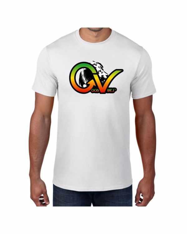 Good Vibes Rastafarian White Lion GV White T-shirt