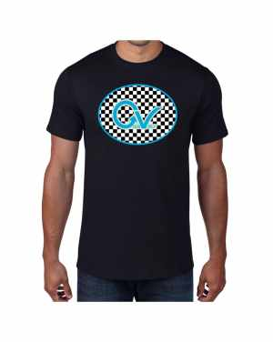 Good Vibes Blue Light Green Checker Black T-shirt