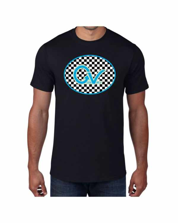 Good Vibes Blue Light Green Checker Black T-shirt