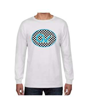 Good Vibes Blue Light Green Checker White Long Sleeve T-shirt