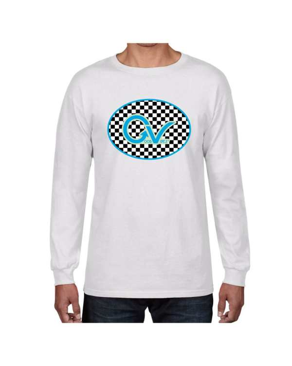 Good Vibes Blue Light Green Checker White Long Sleeve T-shirt