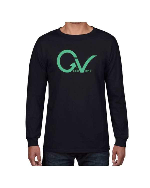 Good Vibes Dark Teal Back Long Sleeve T-shirt