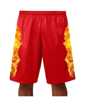 """Good Vibes™ Men's Red Basketball Shorts with Fire Logo. Style A4 11"""" Adult Utility Mesh with 2 Ply Mesh Body"""