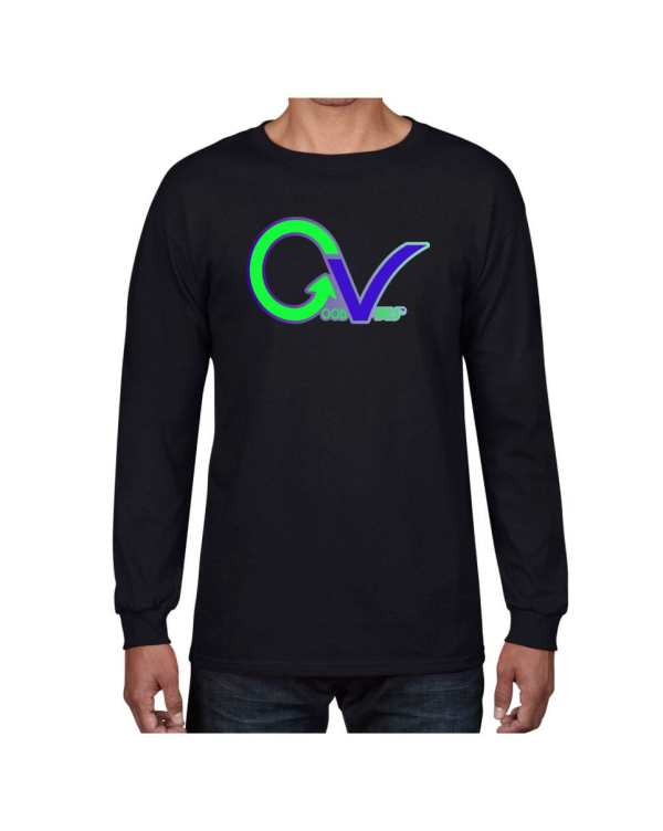 Good Vibes Green Purple Logo Black Long Sleeve T-shirt
