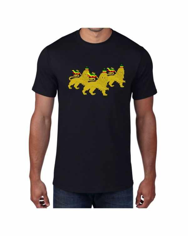 Good Vibes 3 Lions Rastafarian Black T-shirt