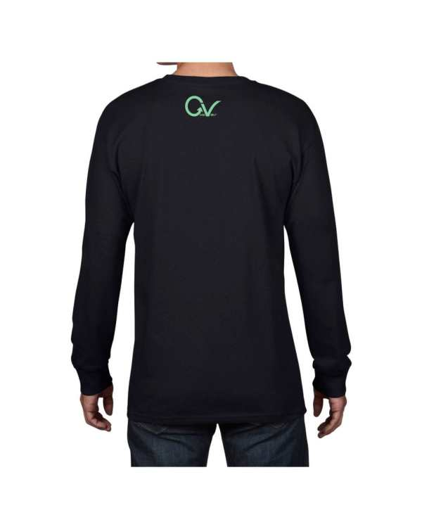Good Vibes Green GV Logo Black Long Sleeve T-shirt