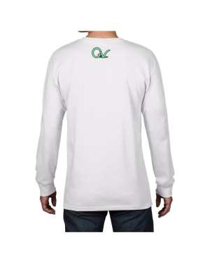 Good Vibes Green GV Logo White Long Sleeve T-shirt