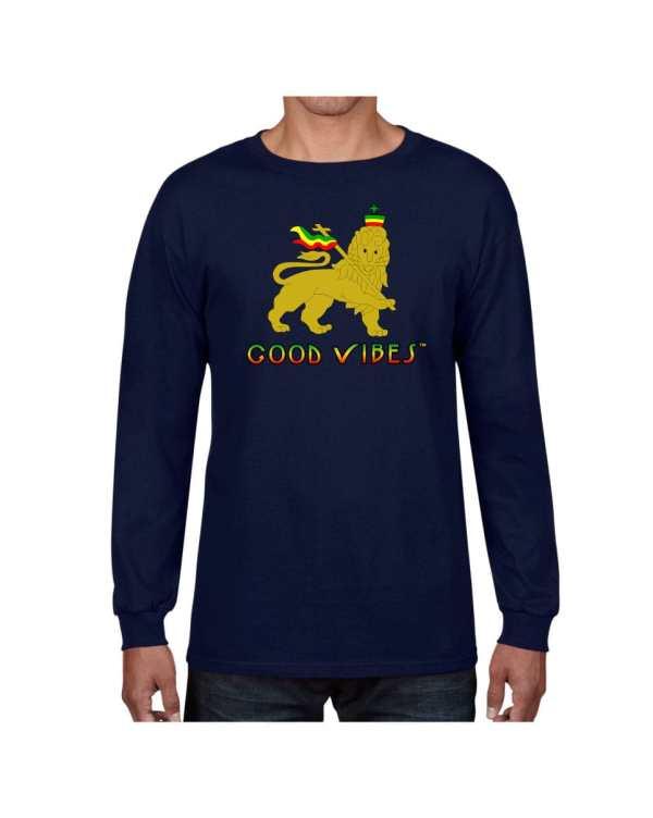 Good Vibes Rastafarian Lion Navy Long Sleeve T-shirt