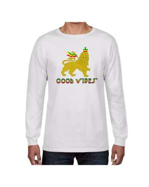 Good Vibes Rastafarian Lion White Long Sleeve T-shirt