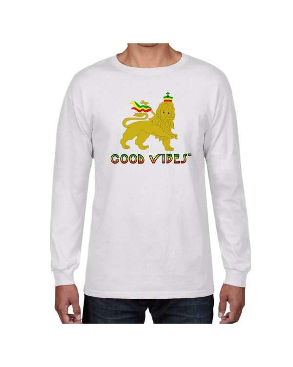 Good Vibes Rastafarian Lion White Long Sleeve T-shirt