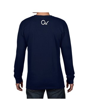 Navy Long Sleeve Back White