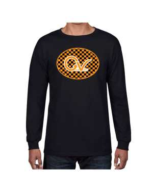 Good Vibes Orange Checker Logo Black Long Sleeve T-shirt
