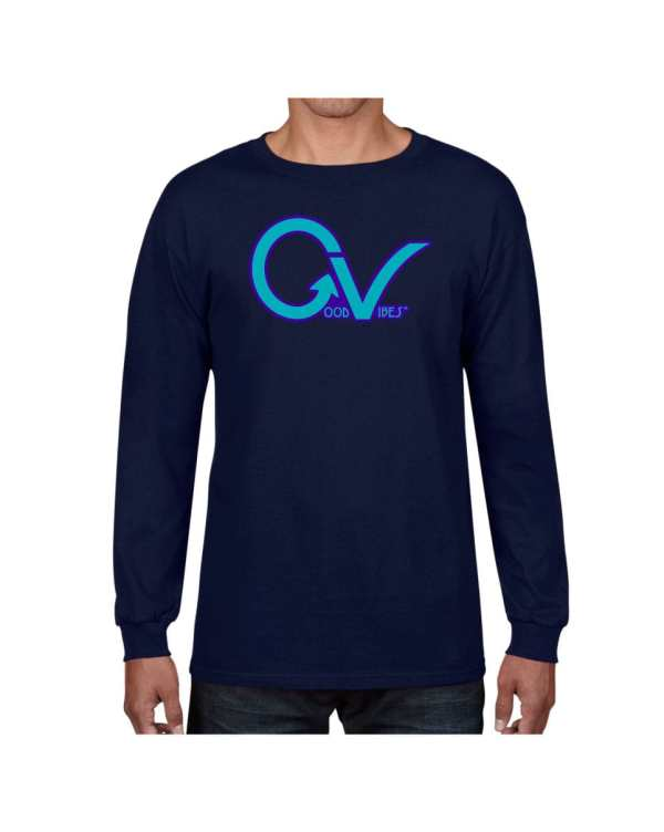 Good Vibes Purple GV Navy Long Sleeve T-shirt