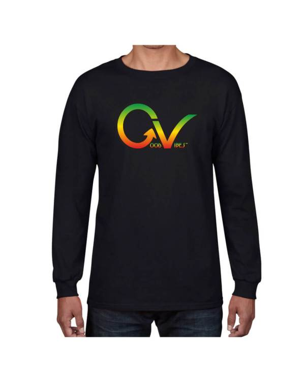 Good Vibes Rastafarian GV Black Long Sleeve T-shirt