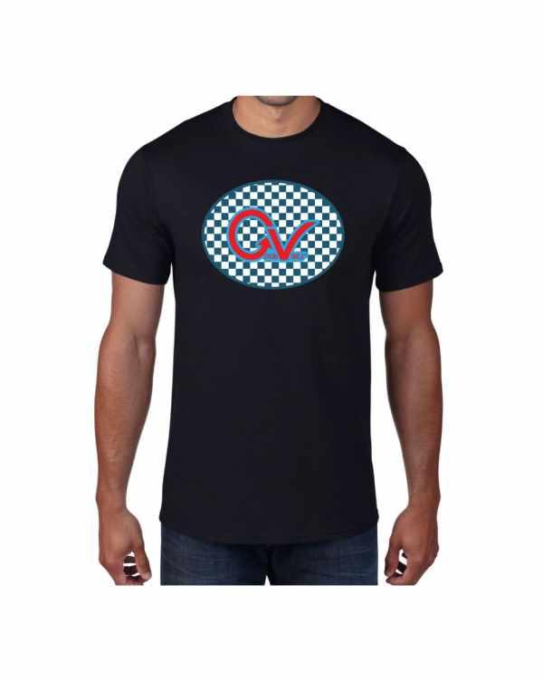 Good Vibes Blue Red Checkered Black T-shirt