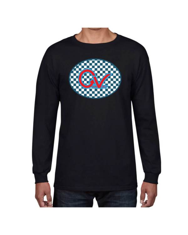 Good Vibes Blue Red Checkered Black Long Sleeve T-shirt