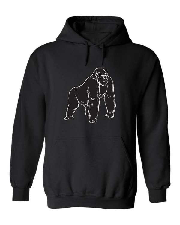 Good Vibes™ Unisex Black Gorilla Hoodie. This is a Heavyweight Hoodie 50% cotton and 50% Polyester with Front pouch pocket