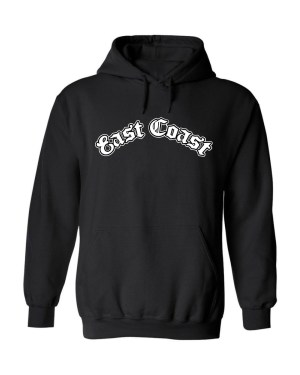 Unisex East Coast Logo Hoodie. This is a Heavyweight Hoodie 50% cotton and 50% Polyester with Front pouch pocket