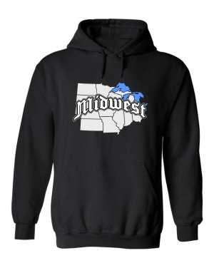 Good Vibes Midwest Map Black Hoodie