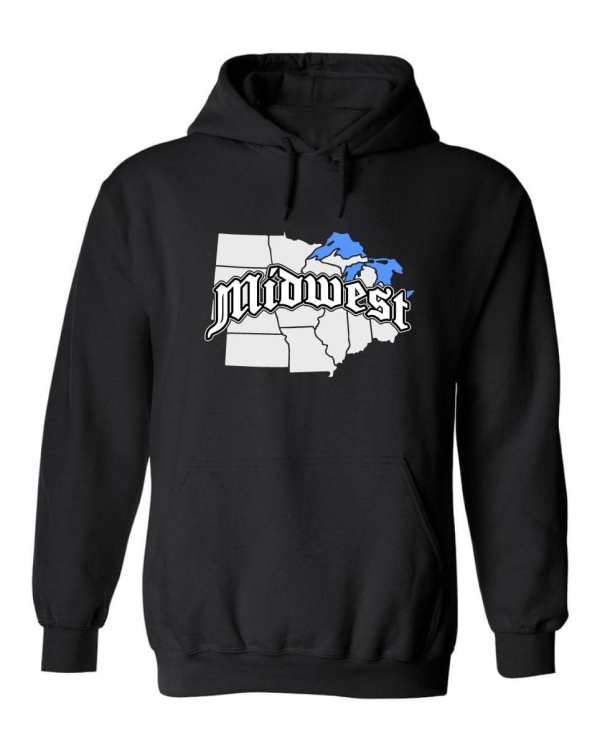 Good Vibes Midwest Map Black Hoodie