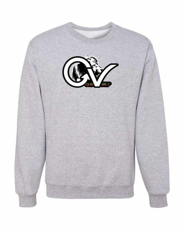 Good Vibes Rasta White Lion Logo Gray Sweatshirt