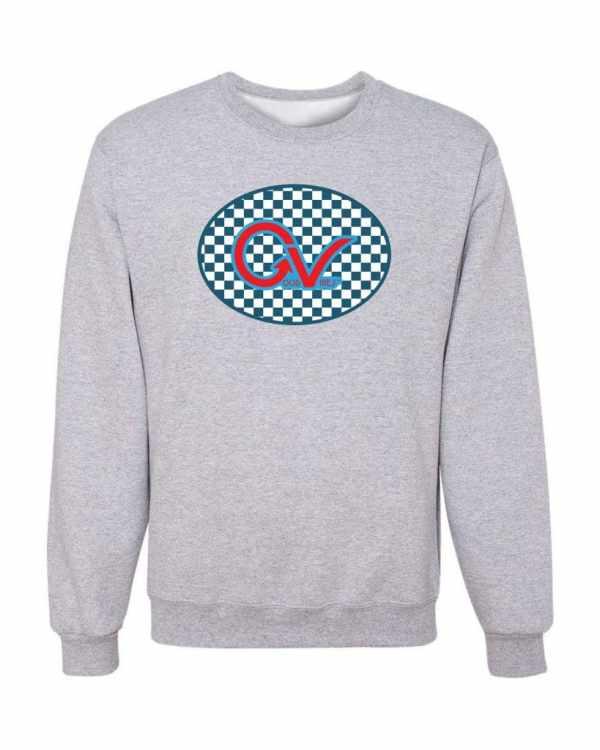 Good Vibes Blue Red Checkered Gray Sweatshirt