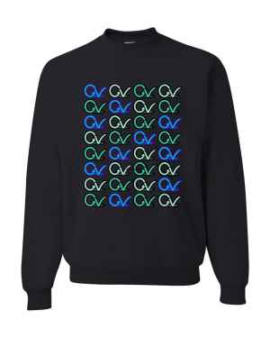 Good Vibes Multi Colored GV Layout Black Sweatshirt