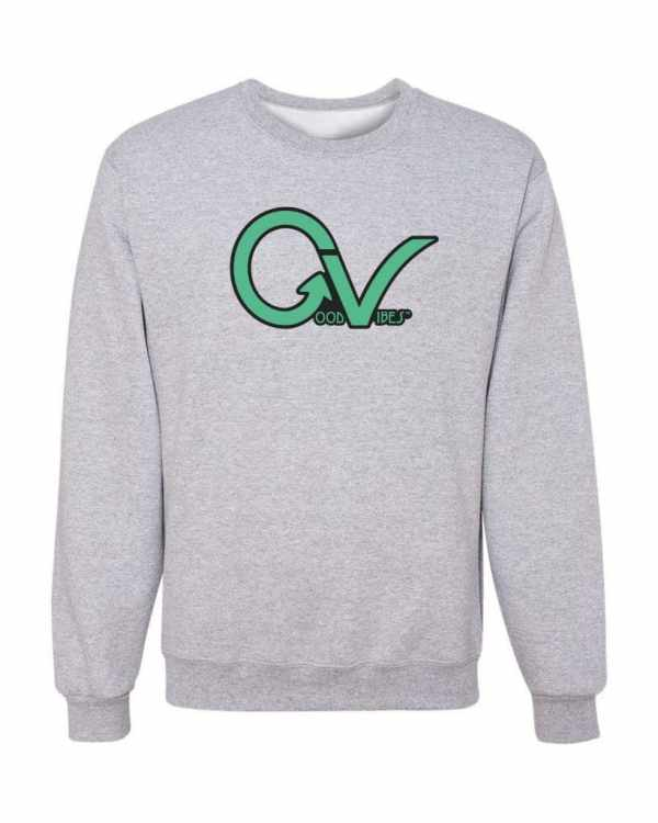 Good Vibes Green GV Logo Gray Sweatshirt
