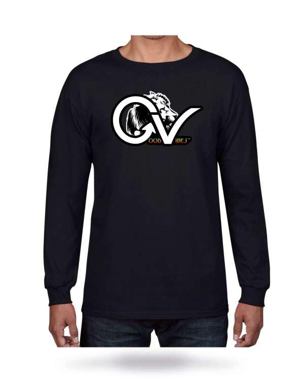 Good Vibes Rasta White Lion Logo Black Long Sleeve T-shirt