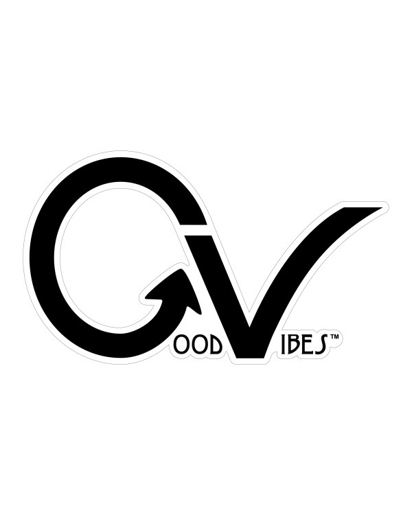 """Good Vibes Black White Border GV Sticker for Indoor or Outdoor Use 3.45"""" x 2"""""""