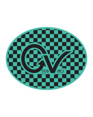 "Good Vibes Black and Teal Checker Sticker for Indoor or Outdoor Use 4"" x 3"""