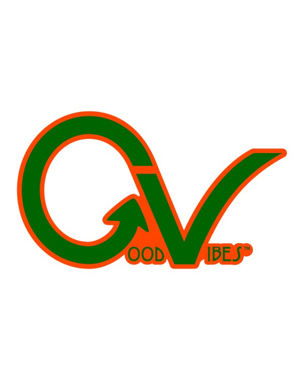 """Good Vibes Green Orange GV Sticker for Indoor or Outdoor Use 3.45"""" x 2"""""""