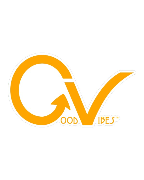 """Good Vibes Orange White Border GV Sticker for Indoor or Outdoor Use 3.45"""" x 2"""""""