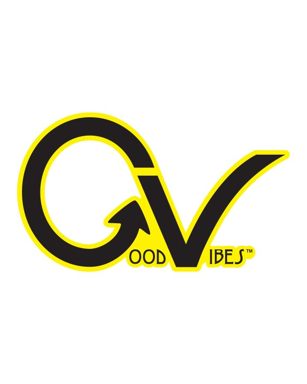 "Good Vibes Yellow Black Border GV Sticker for Indoor or Outdoor Use 3.45"" x 2"""