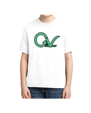 Kids Green Good Vibes Logo T-shirt 5.6 oz., 50/50 Heavyweight Blend White T-Shirt