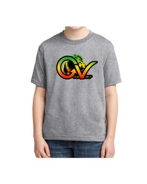 Kids Good Vibes Rasta Heather Gray T-shirt 5.6 oz., 50/50 Heavyweight Blend T-Shirt