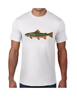Brook Trout Fish White T-shirt 5.6 oz., 50/50 Heavyweight Blend