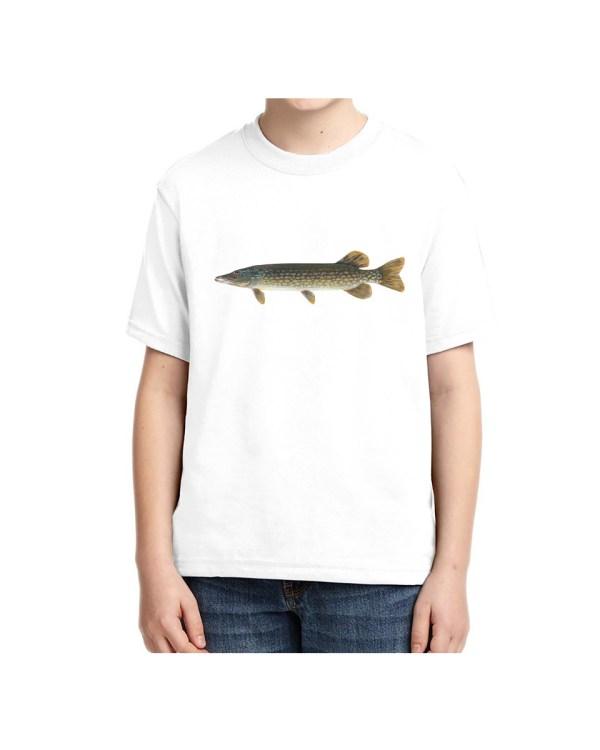 Kids Northern Pike White T-shirt 5.6 oz., 50/50 Heavyweight Blend