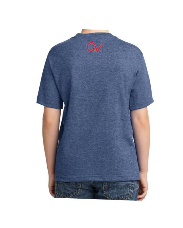 Kids Red and Blue Checker Logo Heather Blue T-shirt 5.6 oz., 50/50 Heavyweight Blend T-Shirt (Available in 4 colors)