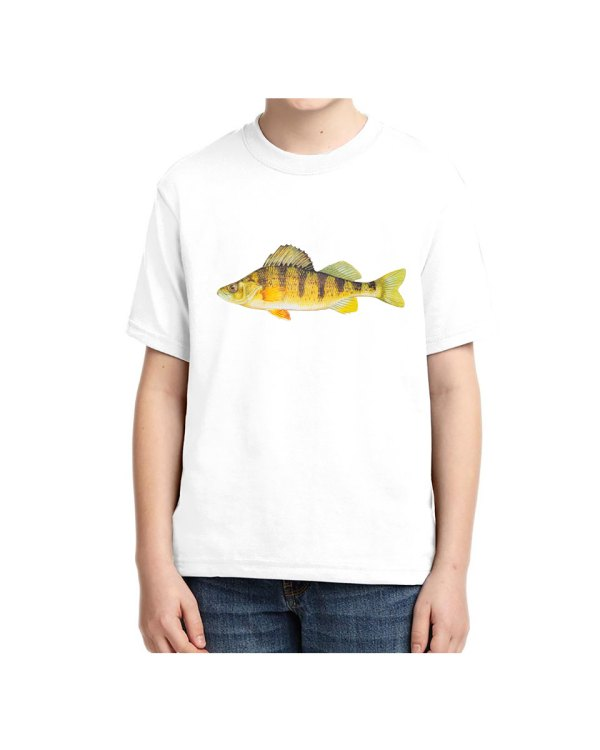 Kids White Tshirt Yellow Perch T-shirt 5.6 oz., 50/50 Heavyweight Blend