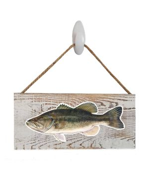 "Good Vibes™ Large Mouth Bass White Wood Sign. Size: 12"" W x 5.5"" H - With Rope 11"" H -.30 Thick"