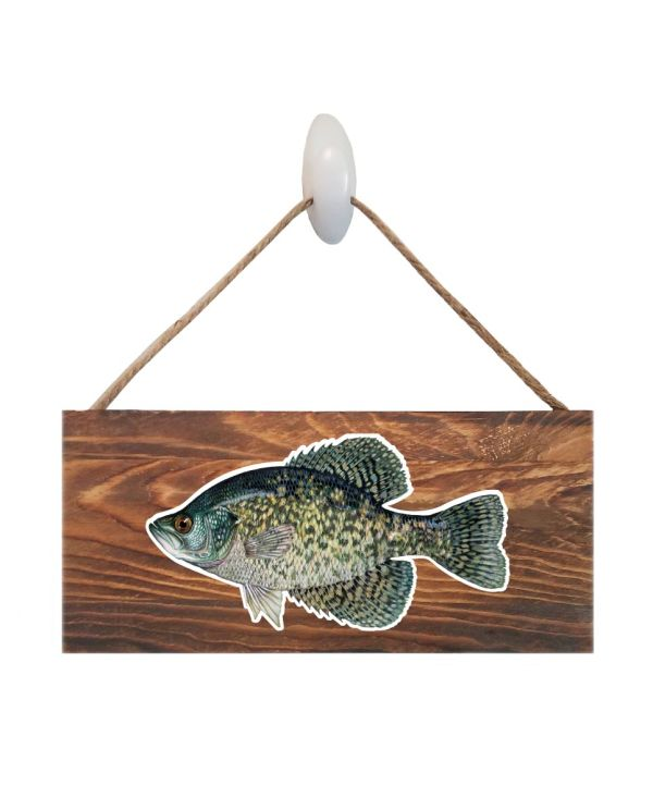 "Good Vibes™ Black Crappie Dark Wood Sign. Size: 12"" W x 5.5"" H - With Rope 11"" H -.30 Thick"
