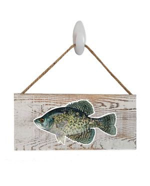 "Good Vibes™ Black Crappie White Wood Sign. Size: 12"" W x 5.5"" H - With Rope 11"" H -.30 Thick"
