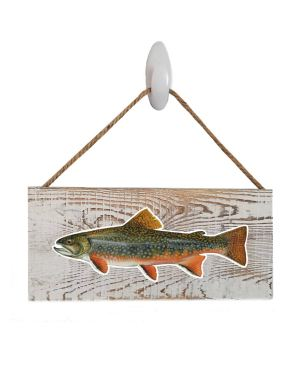"""Good Vibes™ Brook Trout White Wood Sign. Size: 12"""" W x 5.5"""" H - With Rope 11"""" H -.30 Thick"""