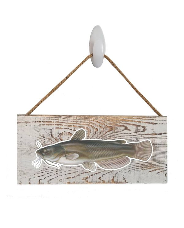"Good Vibes™ Bullhead White Wood Sign. Size: 12"" W x 5.5"" H - With Rope 11"" H -.30 Thick"