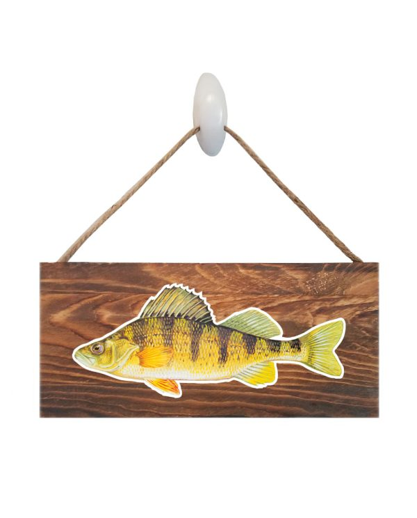 """Good Vibes™ Yellow Perch Dark Wood Sign. Size: 12"""" W x 5.5"""" H - With Rope 11"""" H -.30 Thick"""