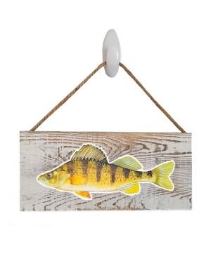 "Good Vibes™ Yellow Perch White Wood Sign. Size: 12"" W x 5.5"" H - With Rope 11"" H -.30 Thick"