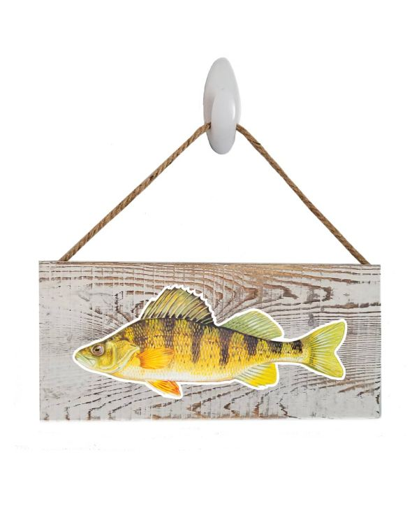 """Good Vibes™ Yellow Perch White Wood Sign. Size: 12"""" W x 5.5"""" H - With Rope 11"""" H -.30 Thick"""
