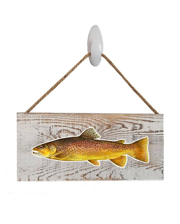 "Good Vibes™ Brown Trout White Wood Sign. Size: 12"" W x 5.5"" H - With Rope 11"" H -.30 Thick"