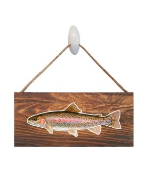"Good Vibes™ Rainbow Trout Dark Wood Sign. Size: 12"" W x 5.5"" H - With Rope 11"" H -.30 Thick"